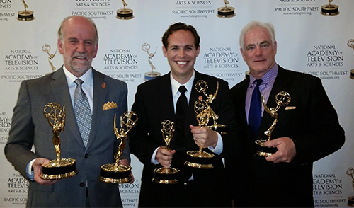 Craig Bentley, Kevin Tostado, and Larry Groupe with Emmys
